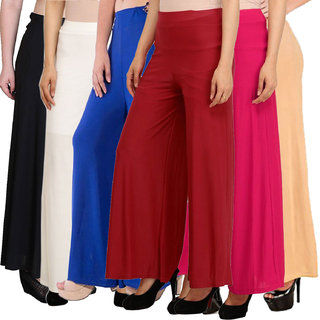 Pixie's Stylish Casual Wear Malai Lycra Pant Palazzo Combo (Pack of 6) Black, White, Blue, Maroon, Pink and Beige - Free Size