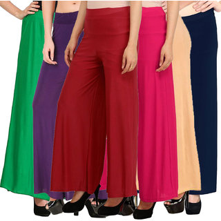 Pixie's Stylish Casual Wear Malai Lycra Pant Palazzo Combo (Pack of 6) Green, Purple, Maroon, Pink, Beige and Navy Blue - Free Size