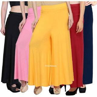 Pixiereg  Stylish Casual Wear Malai Lycra Pant Palazzo Combo Pack of 5 (Black, Baby Pink, Yellow, Maroon and Navy Blue)