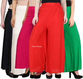 Pixiereg  Stylish Casual Wear Malai Lycra Pant Palazzo Combo Pack of 5 (Black, White, Pink, Red and Green)
