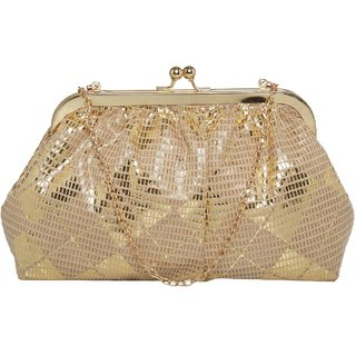 TARUSA Gold Synthetic Shimmer Material Geometric Pattern Clutch For Women's