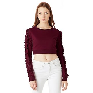 bf3f4e29937d1 Miss Chase Women s Maroon Round Neck Full Sleeve Cotton Solid Ruffled  Gathered pearl Detailing Crop Top