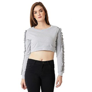 ee95ef2ed0114 Miss Chase Women s Light Grey Round Neck Full Sleeve Cotton Solid Ruffled  Gathered Crop Top