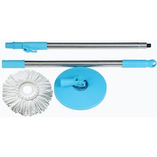Mop Rod Stick Stainless Steel With 1 Refill Microfibre 360 Degree Rotating Plastic Pole Floor Cleaning