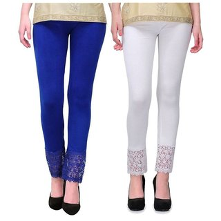 Pixie Designer Bottom Lace Leggings (Blue, White) - Free Size