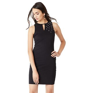 bbb25ff7c0 Miss Chase Women s Black Solid Sleeveless Round Neck Mini Pearl Bodycon  Dress