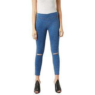 Miss Chase Women's Blue Super Skinny Fit High Rise Clean Look Knee Slit Regular Length Stretchable Denim Jeggings