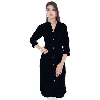PMM Creation Black Plain/Printed Stitched Straigth Solid Cotton Kurti /Kurta/ Kurtis for Women