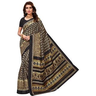 Jevi Prints Women's Bhagalpuri Art Silk Black Paisley Print Saree with Blouse Piece