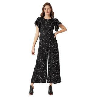917426831140 Miss Chase Women s Multicolored Round Neck Ruffle Half Sleeve Polka Dot  Regular Length Wide Leg Jumpsuit