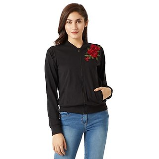 47b5df5e741388 Buy Miss Chase Women s Black Round Neck Full Sleeve Cotton Solid Zippered  Embroidered Patch Work Bomber Jacket Online - Get 53% Off