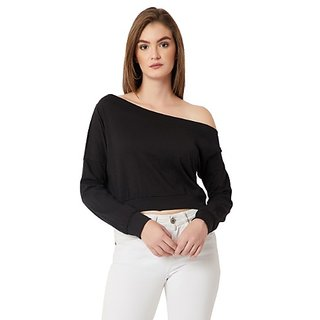 a3df9de9a35 Buy Miss Chase Women's Black One Shoulder Full Sleeve Cotton Solid Crop  Sweatshirt Online - Get 63% Off