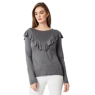 Miss Chase Women's Grey Round Neck Full Sleeves Solid Ruffled Top