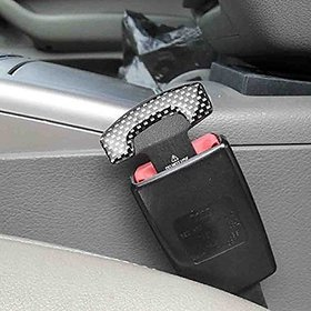 S4D  2 Pcs Carbon Fiber Car Seat Belt Alarm Beep LED Stopper Safety Buckle Null Insert Clip