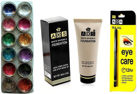 Vozwa 12 in 1 Glitter, 1 White Invisible Foundation and  1 Eye Care Kajal