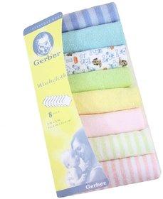 Baby napkin cum wash cloth Gerber Hosiery 8 Pcs Newborn Baby Soft Cotton Face Towels (Multicolor)