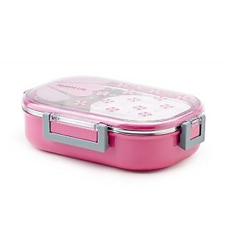 6th Dimensions Homio Vacuum Lunch Dinner Tiffin Box For School Office 710Ml With Inner Stainless Steel Material (PINK)