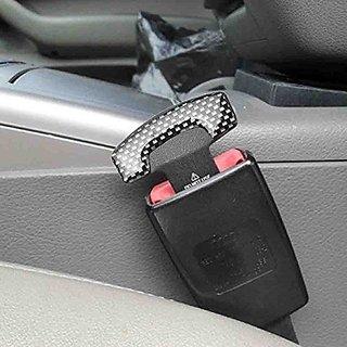 S4D  2 Pcs Carbon Fiber Car Seat Belt Alarm Beep LED Stopper Safety Buckle Null Insert Clip