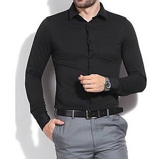 Us Pepper Black Plain Casual Shirt