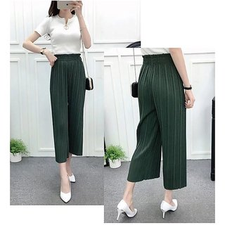 Pleated 3/4 th Green Palazzo Pants / Casual Solid Color High Waist Pants / Wide Leg Pants