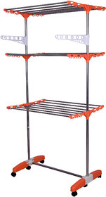 Mega's Stainless Steel , High Grade Plastic, With Movable stand  Foldable, Make In INDIA, Portable Cloth Drying Stand