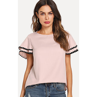 df476c2e30 Buy Code Yellow Women's Baby Pink Black Piping Bell Sleeves Top Online @  ₹799 from ShopClues