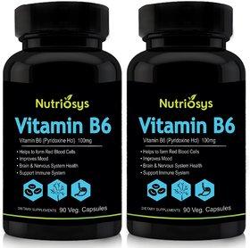 Nutriosys Vitamin B6 - 100mg (180Veg Capsules)- Pack Of
