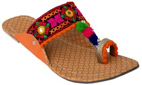 Femmecrafts Orange Foam & Silk Embroidered Kolhapuri chappal / Slippers For Women