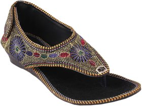 Femmecrafts Black Foam & Zari Embroidered Sandal For Women