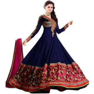 Aaina Blue Georgette Embroidered Dress Material