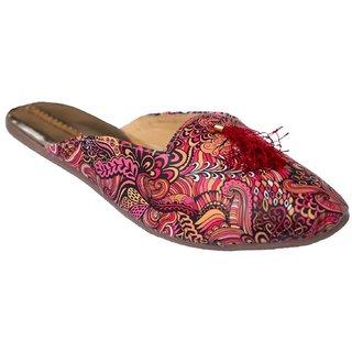 Femmecrafts Red Foam Printed Slippers For Women