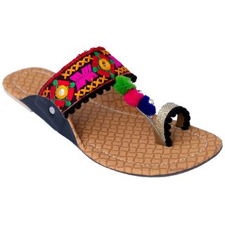 Femmecrafts Black Foam & Silk Embroidered Kolhapuri chappal / Slippers For Women