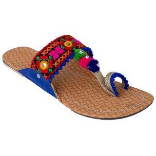 Femmecrafts Blue Foam & Silk Embroidered Kolhapuri chappal / Slippers For Women