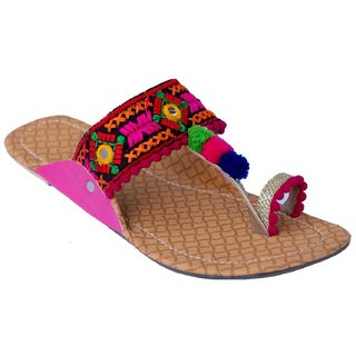 Femmecrafts Pink Foam & Silk Embroidered Kolhapuri chappal / Slippers For Women