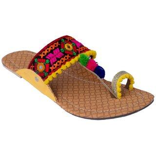 Femmecrafts Yellow Foam & Silk Embroidered Kolhapuri chappal / Slippers For Women