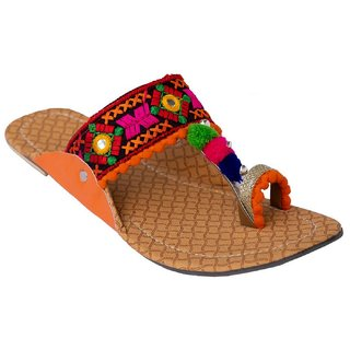 Femmecrafts Orange Foam & Silk Embroidered Kolhapuri chappal / Slippers For Women