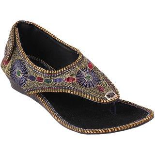 Femmecrafts Black Foam & Zari Embroidered Sandal For Women
