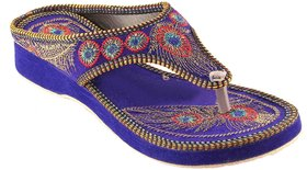 Femmecrafts Blue Velvet Embroidered Slippers For Women