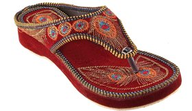Femmecrafts Maroon Velvet Embroidered Slippers For Women