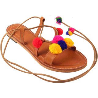 Femmecrafts Leather Pom Pom Dori Sandal For Women