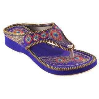 Femmecrafts Blue Velvet Embroidered Slippers For Women