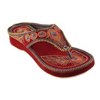 Femmecrafts Maroon Velvet Embroidered Slippers For Women