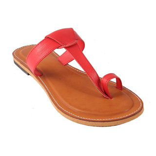 Femmecrafts Red Faux Leather Slippers For Women