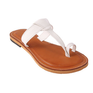 Femmecrafts White Faux Leather Slippers For Women