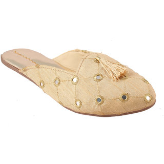 Femmecrafts Golden Satin Cloth With Mirror Work Slippers For Women