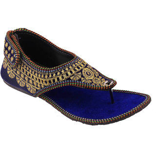 Femmecrafts Blue Rajasthani Style Embroidered Sandals For Women