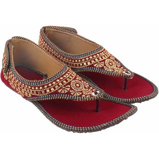 Femmecrafts Maroon Rajasthani Style Embroidered Sandals For Women