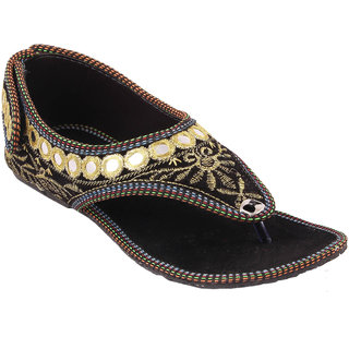61782b683 Femmecrafts Golden Rajasthani Style Mirror Work Embroidered Sandals For  Women