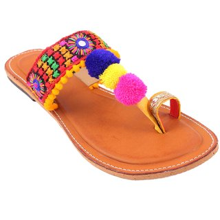 Femmecrafts Pom Pom Ethnic Embroidered Slippers For Women