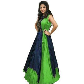 Florence Womens Green Bangalore Silk Anarkali Gown